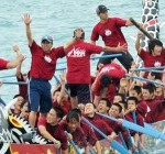 Naha Harii dragon boat race starts under rainy skies