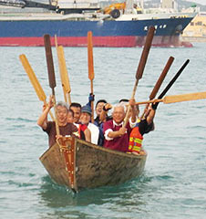 Repaired sabani sails again - Itoman Uminchu workshop