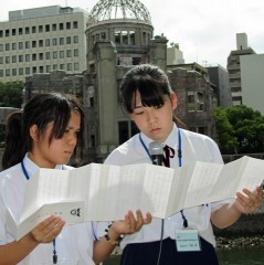Okinawan students attend the Hiroshima Peace Memorial Ceremony