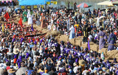 The Yonabaru Great Tug-of-War, a prayer for quake-hit areas