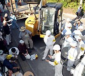 Japanese government restarts construction of the Takae helipads, resulting in stand-off with residents
