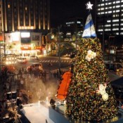 Christmas tree appears to shines a light on downtown Naha
