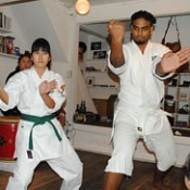 Hiwat from Suriname practices karate in Okinawa
