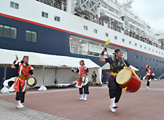 First passengers of an around-the-islands-cruise depart from Naha Port
