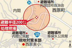 Disposal of U.S. unexploded ordnance in Nishihara took eight hours of traffic control