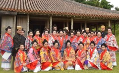 Students complete a course in Okinawan traditional dress-fitting and hair-arrangement