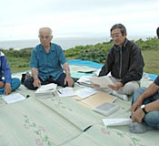 Former politicians and teachers gather at Cape Hedo to discuss the reversion movement 