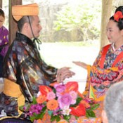 A new couple celebrates a wedding in a cultural site