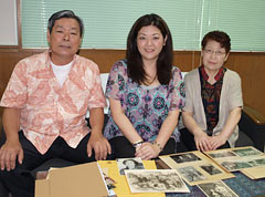 Fourth-generation Okinawan descendant from Hawaii Branda Nomura meets her relatives in Yomitan