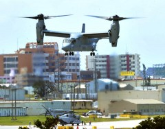 First landing of MV-22 Osprey in Okinawa amid strong protest from residents