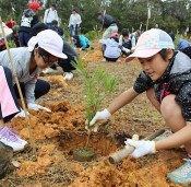 Afforestation project for Shuri Castle starts in Higashi-son