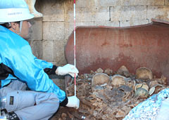 Human remains and ornaments found in a burial urn possibly confirm tomb