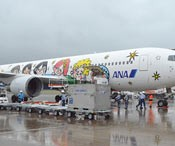 ANA's mid-sized aircraft arrives at New Ishigaki Airport