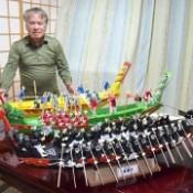Dragon boat models made using 45,000 toothpicks