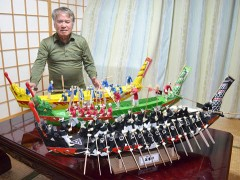 Dragon boat models made using 45,000 toothpicks