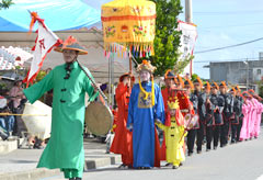 Traditional Chinese and Japanese parades performed during full moon festival