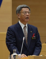 "Naha Mayor Onaga says ""Fire burning for all Okinawans remains"""