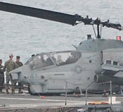 U.S. Marine helicopter fails in landing on U.S.S. Denver