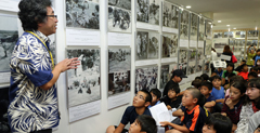 Okinawan Elementary School students learn about the Battle of Okinawa