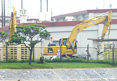 Defense bureau starts removing buildings within Camp Schwab in Henoko to build a new air base