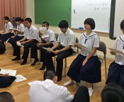 Okinawan Junior High School students learn about the Constitution of Japan in <em>Uchinaguchi</em>