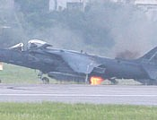 AV-8B Harrier II catches fire after emergency landing at Kadena Air Base