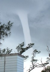 Tornado appears over Oura Bay in Nago