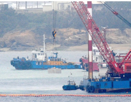 Dozens of tons of concrete blocks introduced in Henoko: Okinawa Defense Bureau forcing through new base construction