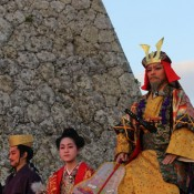 Villagers pray to newborn sun at ruins of Nakagusuku Castle