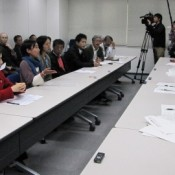 Takae residents protest against Japanese government agreeing to provide land for US helipads before returning region's land occupied by US military
