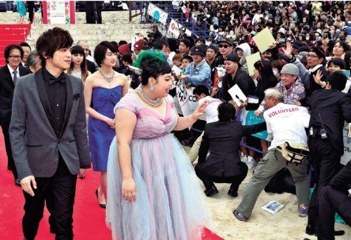 Fans cheer stars on the red carpet at Okinawa International Movie Festival