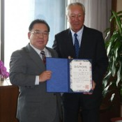 Renowned golfer Isao Aoki becomes goodwill ambassador for Okinawa