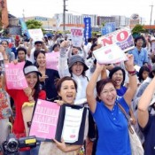 Okinawa youth group protests security bill and new US base