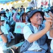 Sit-in protesters explode in celebration of Gov.Onaga's revocation of approval of landfill for new US base