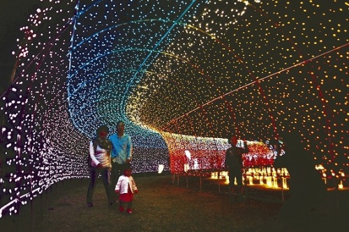Fantastic tunnel of lights, New Year eve concert in Tomigusuku