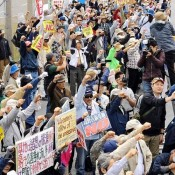 Protesters numbering 2,500 request ban on US military personnel staying at lodging off base