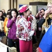 Okinawa promotes charm of Awamori to British luxury liner guests