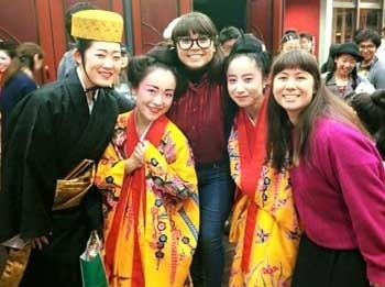 "Amy Ono (far left) and Minami Tamamoto (fourth from left) pose together with their international friends from Argentina and Peru, on the day of their performance of ""Ayamiya no Utage"" on March 12."