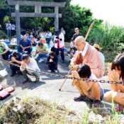 Praying for life-saving cave and peace at Shiohira Gongen Festival