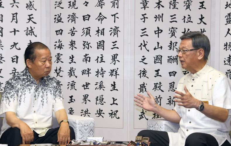 Onaga urges LDP Secretary-General Nikai to give up new US base construction
