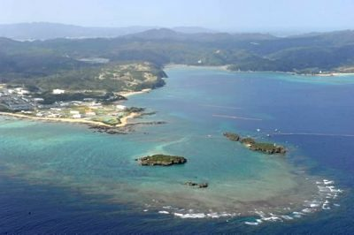 Oura Bay and Camp Schwab at Henoko, Nago, where the governments of Japan and the United States plan to build a new U.S. airfield.