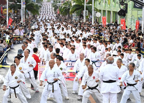 3973-Person Karate demonstration breaks Guinness World Record at anniversary festival on Kokusai Street