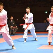 Japanese team, including Kinjo, Kyuna and Uemura, wins three consecutive championships at Karate 1 Premier League