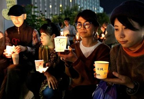 Candlelit protests against US military bases in Okinawa