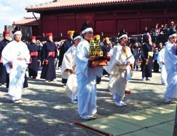 Ryukyu Dyansty era ritual Momoso-omonomairi re-enacted at Shuri Castle