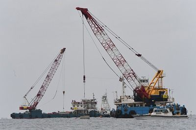 ODB begins submerging concrete blocks in Oura Bay to restrict Henoko base construction site