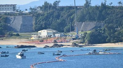 Above-sea fence at Henoko almost finished, protesters removed by riot police