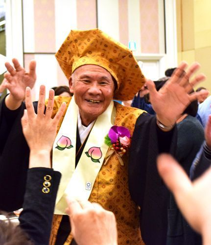 One-hundred-year-old Dr. Tanaka celebrates with 150 people