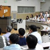 Kazufumi gives a lecture at Ryukyu University about producing Okinawan Kuruchi and avoiding war