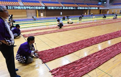 Okinawa City sets Guinness World Record for longest origami crane lei on local Day of Peace
